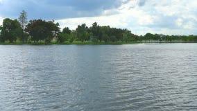 Jezioro i niebo w głębokim lesie zbiory