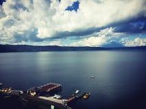 Jezioro krajobraz Toya, hokkaido, Japonia zdjęcia royalty free