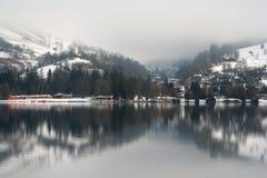 jezioro krajobrazowa zimy. Fotografia Royalty Free