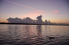 Jezioro krajobrazowy zmierzch Zdjęcie Royalty Free