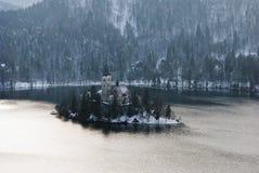 Jezioro Krwawiący od above, Krwawiący, Slovenia Obraz Royalty Free