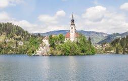 Jezioro Krwawiący w Slovenia, wiosna 2015 Fotografia Stock