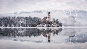 Jezioro Krwawiący z St Marys kościół wniebowzięcie na małej wyspie - Krwawiącej, Slovenia, Europa obrazy royalty free
