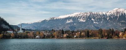 Jezioro Krwawił pejzaż miejski panoramę zdjęcia stock