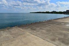 Jezioro Michigan linia brzegowa Wzdłuż Racine Wisconsin obrazy stock