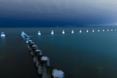 Jezioro Michigan przy nocą Zdjęcie Stock