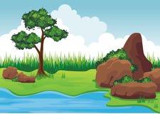 Jezioro na wzgórzu z skałą ilustracji