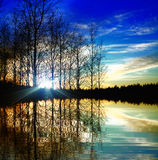 jezioro nad zmierzchem Fotografia Royalty Free