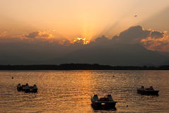 jezioro nad zmierzchu viverone Obrazy Royalty Free
