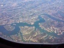Jezioro od samolotu Zdjęcie Royalty Free