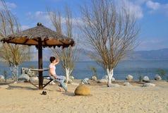 Jezioro oglądać piękną scenerię Obrazy Royalty Free