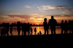 Jezioro powstający słońce Obraz Royalty Free