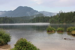 Jezioro przed górą w alps Fotografia Stock