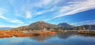 Jezioro przerastający z płoch górami w tle zdjęcie stock