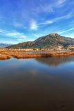 Jezioro przerastający z płoch górami w tle obraz stock