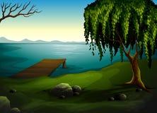 Jezioro przy lasem royalty ilustracja
