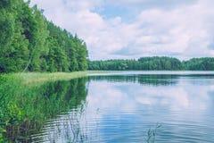 Jezioro przy latgale, Latvia Świeże powietrze i czysta natura Podróż fot Obrazy Stock