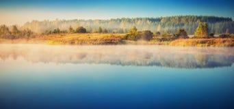 Jezioro przy mglistym świtem Fotografia Royalty Free