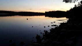 Jezioro przy świtem Fotografia Royalty Free