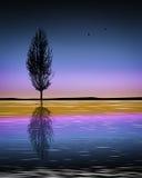 Jezioro samotny drzewo royalty ilustracja
