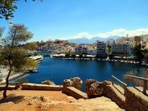 Jezioro w centrum Agios Nikolaos Obrazy Royalty Free