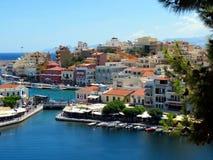 Jezioro w centrum Agios Nikolaos Fotografia Royalty Free