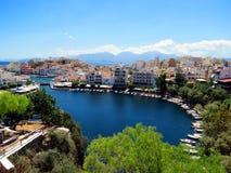 Jezioro w centrum Agios Nikolaos Zdjęcia Royalty Free
