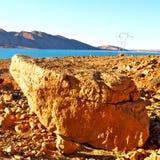 jezioro w dolinnym Morocco Africa atlant sucha góra Zdjęcia Stock