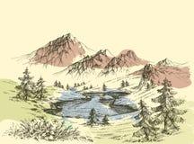Jezioro w górach ilustracji