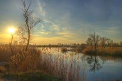 Jezioro w wczesnej wiośnie Obrazy Royalty Free