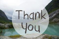 Jezioro Z górami, Norwegia, tekst Dziękuje Ciebie fotografia royalty free