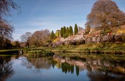 Jezioro z odbiciami drzewa i niebieskie niebo Zdjęcia Royalty Free