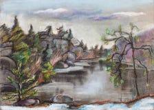 Jezioro z złamanie plażą ilustracji