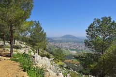 Jezreel Valley, biblical Mount Tabor and the Arab villages, Galilee, Israel. View of the Jezreel Valley, biblical Mount Tabor and the Arab villages at its foot stock photo