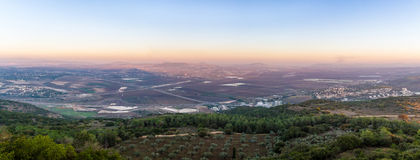 Jezreel Valley, Israel. Jezreel Valley, view from Mount Carmel in sunset light, Israel Stock Photo