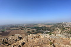 Jezreel Valley from Mount Precipice, Israel Stock Image