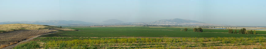 Jezreel Valley the Revelation Scenario. The place of last battle Stock Photos
