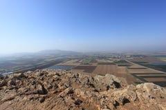 Jezreel Valley & Tavor from Mount Precipice Stock Image