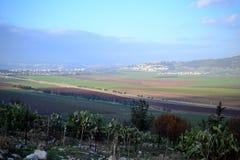 Jezreelvallei vruchtbaar duidelijk en binnenlands valleizuiden van het Lagere Galilee-gebied in Israël Landschap royalty-vrije stock foto's