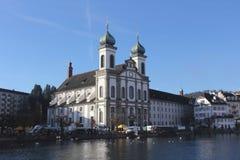 Jezuïetkerk in Luzerne Royalty-vrije Stock Foto's
