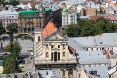 Jezuïetkerk in Lviv, de Oekraïne stock foto's