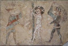 Jezus batoży dwa dręczycielami, bije on z ich scourages obrazy royalty free