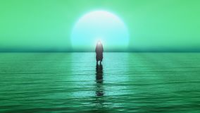 Jezus chodzi na wodzie, cudy jezus chrystus profet bóg, 3D Odpłacają się z zielenią i błękitnym kolorem royalty ilustracja