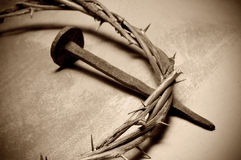Jezus Chrystus korona ciernie i gwóźdź zdjęcia stock