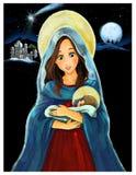 Jezus Chrystus, Mary - ilustracja dla dzieci Obraz Stock
