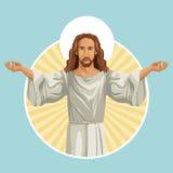 jezus chrystus religijny znaczek ilustracji