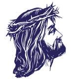 Jezus Chrystus syn bóg w koronie ciernie na jego głowa, symbol chrystianizm ręka rysująca wektorowa ilustracja royalty ilustracja