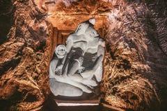 Jezus dryluje statuę w Zipaquira soli katedrze, Bogota, Kolumbia zdjęcie royalty free