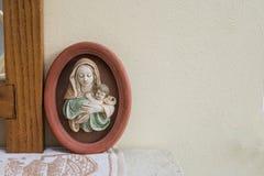 Jezus i Maria figurka, religii chrześcijaństwo, antyk w górę fotografia royalty free
