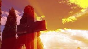 Jezus krzyż z timelapse chmurami zbiory